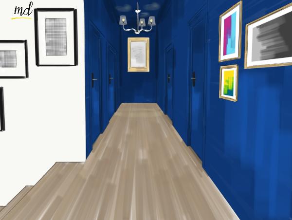 couloir bleu nuit baroque