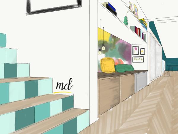 couloir bibliothèque papier peint