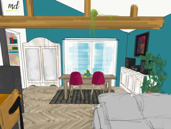 salle a manger deco vert construction