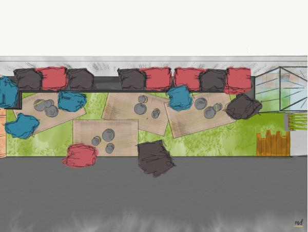 croquis agencement terrasse