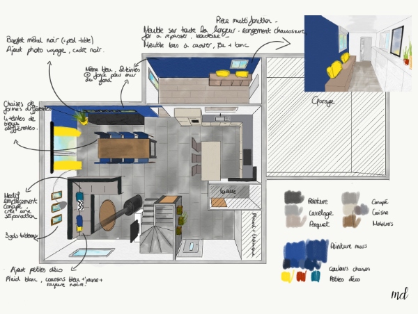 Plan aménagement - ton bleu