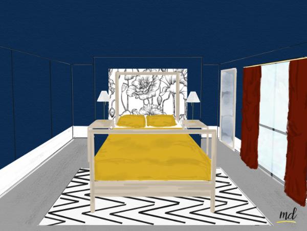 chambre deco bleue