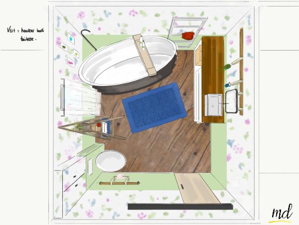 petite salle de bain fleur