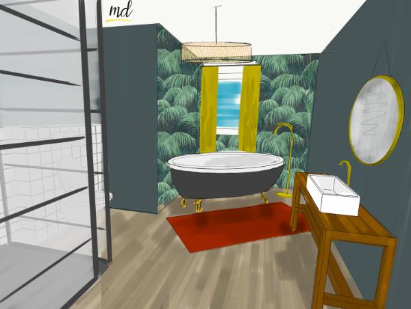 salle de bain deco jungle