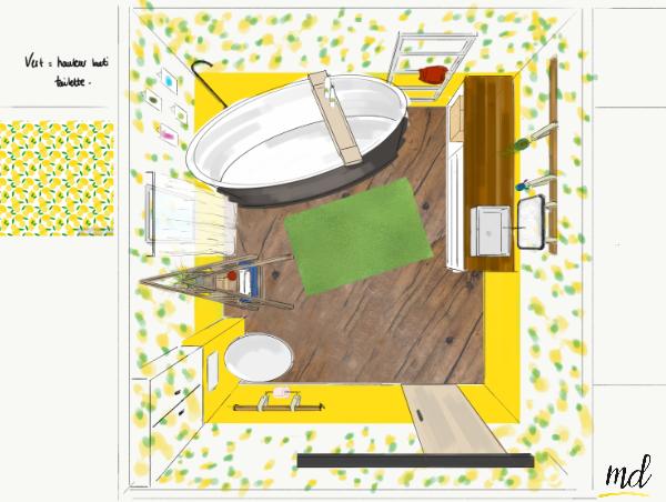 salle de bain citron jaune deco