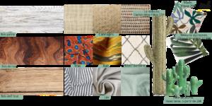 matières, textiles et végétaux déco la boite