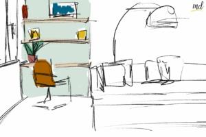 espace bureau salon
